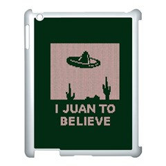 I Juan To Believe Ugly Holiday Christmas Green background Apple iPad 3/4 Case (White)