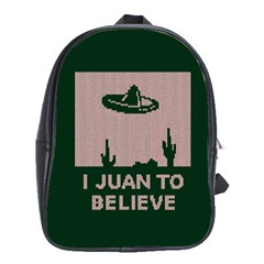 I Juan To Believe Ugly Holiday Christmas Green background School Bags (XL)