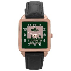 I Juan To Believe Ugly Holiday Christmas Green background Rose Gold Leather Watch