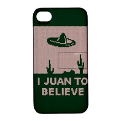 I Juan To Believe Ugly Holiday Christmas Green background Apple iPhone 4/4S Hardshell Case with Stand