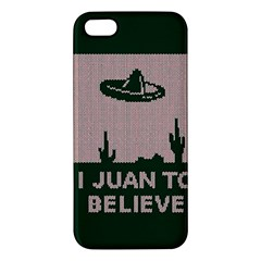 I Juan To Believe Ugly Holiday Christmas Green background Apple iPhone 5 Premium Hardshell Case