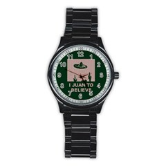 I Juan To Believe Ugly Holiday Christmas Green background Stainless Steel Round Watch
