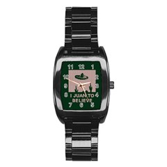 I Juan To Believe Ugly Holiday Christmas Green background Stainless Steel Barrel Watch