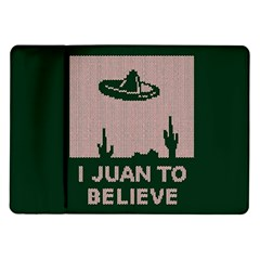 I Juan To Believe Ugly Holiday Christmas Green background Samsung Galaxy Tab 10.1  P7500 Flip Case