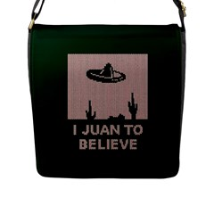 I Juan To Believe Ugly Holiday Christmas Green background Flap Messenger Bag (L)