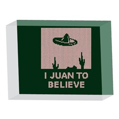 I Juan To Believe Ugly Holiday Christmas Green background 5 x 7  Acrylic Photo Blocks