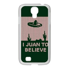 I Juan To Believe Ugly Holiday Christmas Green background Samsung GALAXY S4 I9500/ I9505 Case (White)