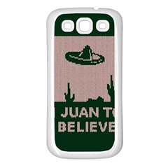 I Juan To Believe Ugly Holiday Christmas Green background Samsung Galaxy S3 Back Case (White)