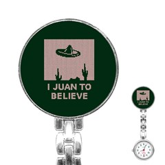 I Juan To Believe Ugly Holiday Christmas Green background Stainless Steel Nurses Watch