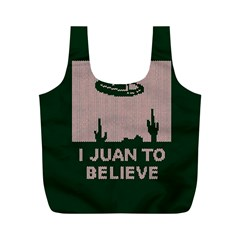 I Juan To Believe Ugly Holiday Christmas Green background Full Print Recycle Bags (M)