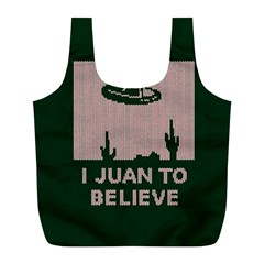 I Juan To Believe Ugly Holiday Christmas Green background Full Print Recycle Bags (L)