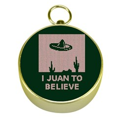 I Juan To Believe Ugly Holiday Christmas Green background Gold Compasses