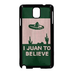 I Juan To Believe Ugly Holiday Christmas Green background Samsung Galaxy Note 3 Neo Hardshell Case (Black)