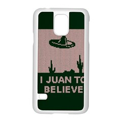 I Juan To Believe Ugly Holiday Christmas Green background Samsung Galaxy S5 Case (White)