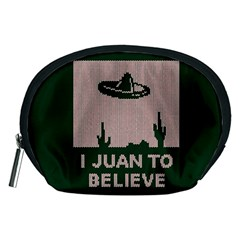 I Juan To Believe Ugly Holiday Christmas Green background Accessory Pouches (Medium)