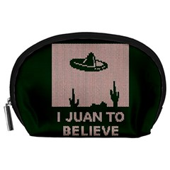 I Juan To Believe Ugly Holiday Christmas Green background Accessory Pouches (Large)