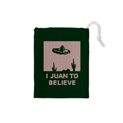 I Juan To Believe Ugly Holiday Christmas Green background Drawstring Pouches (Small)
