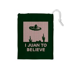I Juan To Believe Ugly Holiday Christmas Green background Drawstring Pouches (Medium)