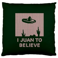 I Juan To Believe Ugly Holiday Christmas Green background Large Flano Cushion Case (One Side)