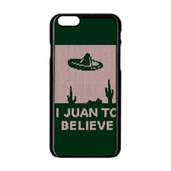 I Juan To Believe Ugly Holiday Christmas Green background Apple iPhone 6/6S Black Enamel Case