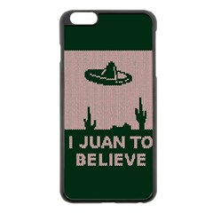 I Juan To Believe Ugly Holiday Christmas Green background Apple iPhone 6 Plus/6S Plus Black Enamel Case