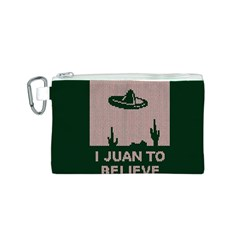 I Juan To Believe Ugly Holiday Christmas Green background Canvas Cosmetic Bag (S)