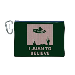 I Juan To Believe Ugly Holiday Christmas Green background Canvas Cosmetic Bag (M)