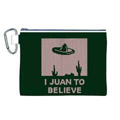 I Juan To Believe Ugly Holiday Christmas Green background Canvas Cosmetic Bag (L)