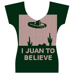 I Juan To Believe Ugly Holiday Christmas Green background Women s V-Neck Cap Sleeve Top