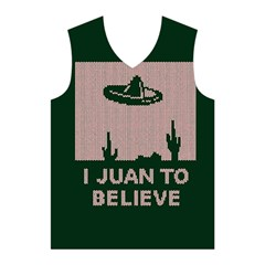 I Juan To Believe Ugly Holiday Christmas Green background Men s Basketball Tank Top