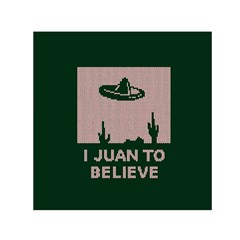 I Juan To Believe Ugly Holiday Christmas Green background Small Satin Scarf (Square)