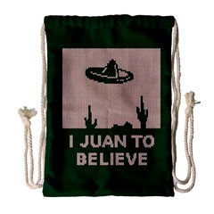 I Juan To Believe Ugly Holiday Christmas Green background Drawstring Bag (Large)