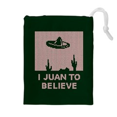 I Juan To Believe Ugly Holiday Christmas Green background Drawstring Pouches (Extra Large)