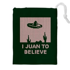 I Juan To Believe Ugly Holiday Christmas Green background Drawstring Pouches (XXL)
