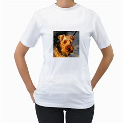 Welch Terrier Women s T-Shirt (White) (Two Sided)