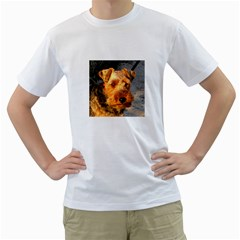 Welch Terrier Men s T-Shirt (White) (Two Sided)