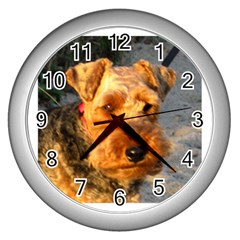 Welch Terrier Wall Clocks (Silver)