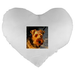 Welch Terrier Large 19  Premium Flano Heart Shape Cushions