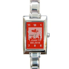 I Juan To Believe Ugly Holiday Christmas Red Background Rectangle Italian Charm Watch