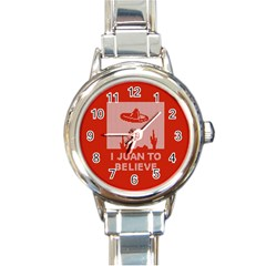 I Juan To Believe Ugly Holiday Christmas Red Background Round Italian Charm Watch