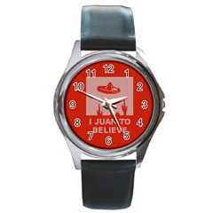 I Juan To Believe Ugly Holiday Christmas Red Background Round Metal Watch