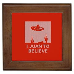 I Juan To Believe Ugly Holiday Christmas Red Background Framed Tiles