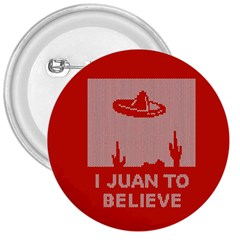 I Juan To Believe Ugly Holiday Christmas Red Background 3  Buttons