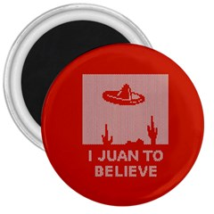 I Juan To Believe Ugly Holiday Christmas Red Background 3  Magnets