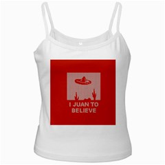 I Juan To Believe Ugly Holiday Christmas Red Background White Spaghetti Tank