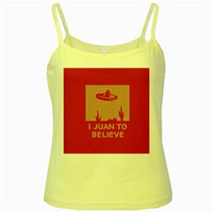I Juan To Believe Ugly Holiday Christmas Red Background Yellow Spaghetti Tank