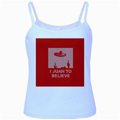 I Juan To Believe Ugly Holiday Christmas Red Background Baby Blue Spaghetti Tank