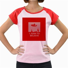 I Juan To Believe Ugly Holiday Christmas Red Background Women s Cap Sleeve T-Shirt