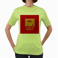 I Juan To Believe Ugly Holiday Christmas Red Background Women s Green T-Shirt