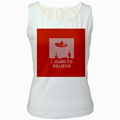 I Juan To Believe Ugly Holiday Christmas Red Background Women s White Tank Top